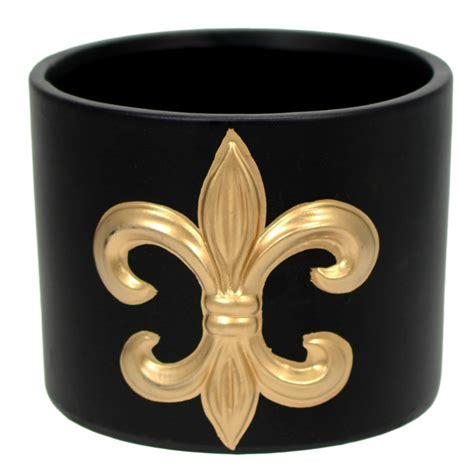 gold fleur de lis and black inscription on shoulder black and gold fleur de lis vase 620642