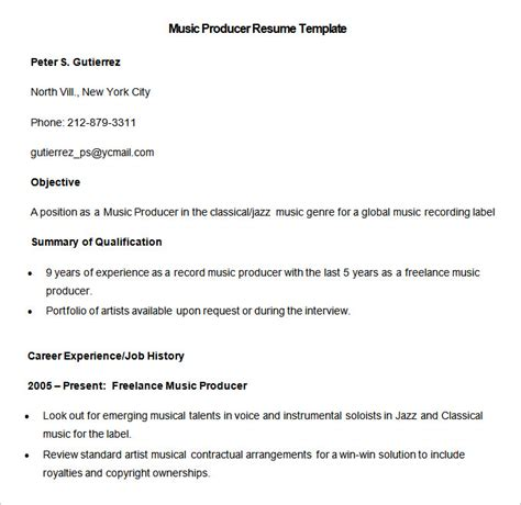 music resume example media resume template 31 free samples examples format short resume template