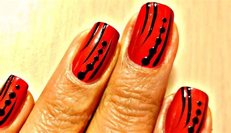 easy nail art red easy nail art designs red and black youtube
