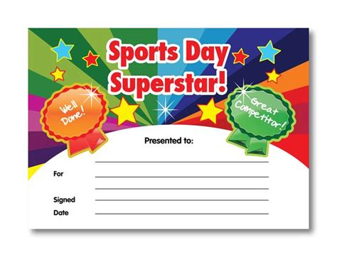 Sports Day Certificate Templates Free certificate sports day superstar
