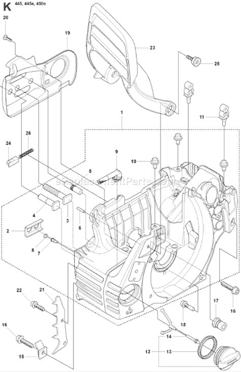 husqvarna 445 chainsaw parts diagram husqvarna 445 parts list and diagram 2007 09