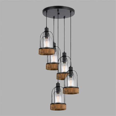 World Market Pendant Light Wood And Glass Industrial Staggered 5 Light Pendant L World Market