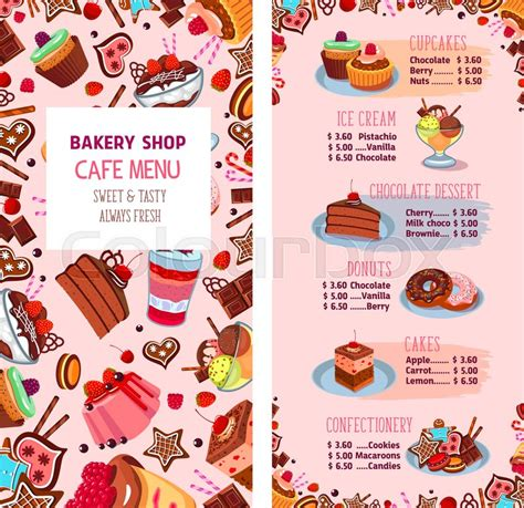 bakery price list template bakery shop menu template for desserts cafe price list