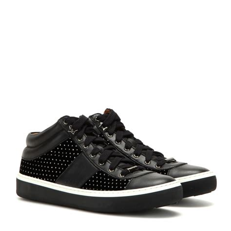 leather sneakers lyst jimmy choo bells embellished velvet and leather