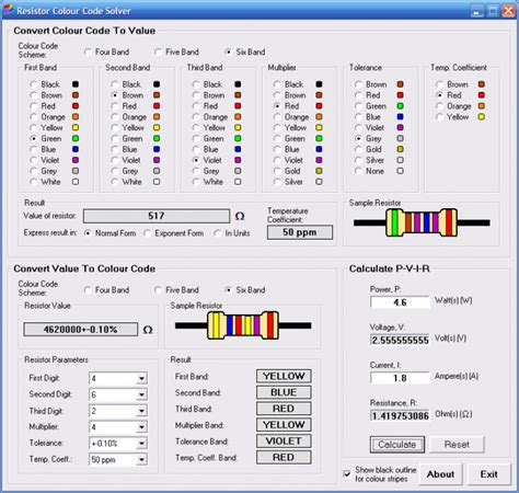 resistor color code v2 1 resistor colour code solver 1 3 1 free freewarefiles home education category