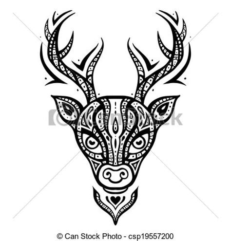 vector clipart of deer head ethnic pattern deer head