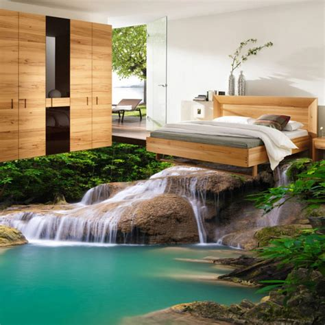 Bedroom Waterfall custom mural wallpaper 3d hd nature waterfall pvc floor