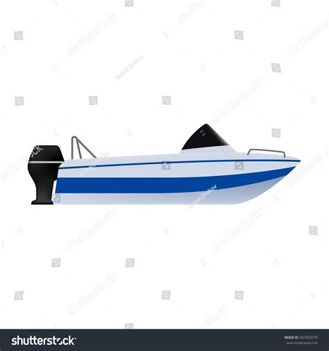boat small icon motor boat small boat outboard motor stock vector