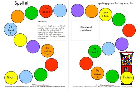printable games to play with spelling words spell it a printable spelling game for any word list k