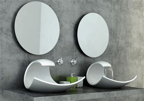 Designer Bathroom Sinks Stylish And Beautiful White Sink In Oceanic Wave Form Eaux Eaux Home Building Furniture