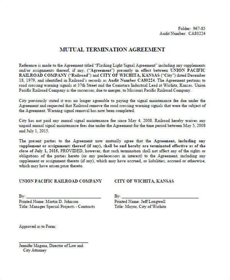 template of termination of contract 8 termination contract template exles in word pdf