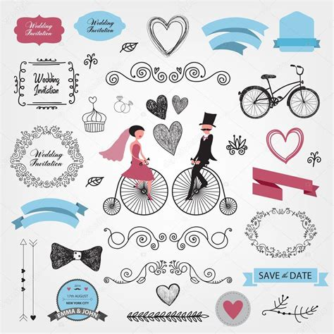 wedding design elements vector wedding invitation design elements stock vector