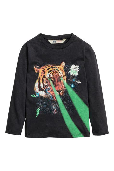 H M Longsleeve Printed Soft Shirt printed sleeved t shirt black sale h m us