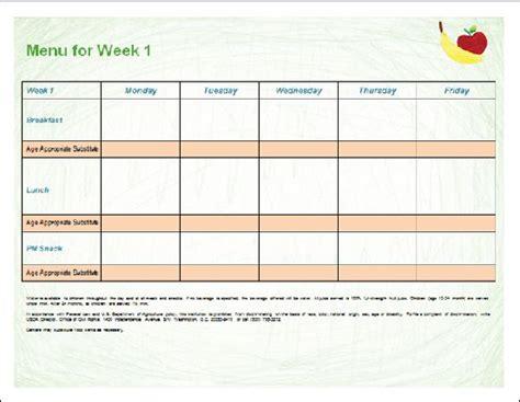 child care menu template printable menu template for child care programs word