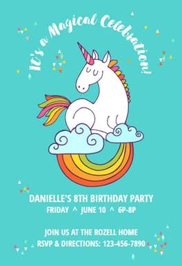 6 year birthday card template unicorn magic free birthday invitation template