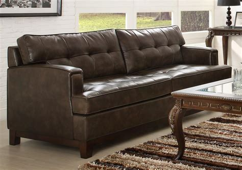 homelegance hodley all bonded leather sofa brown 9995 3