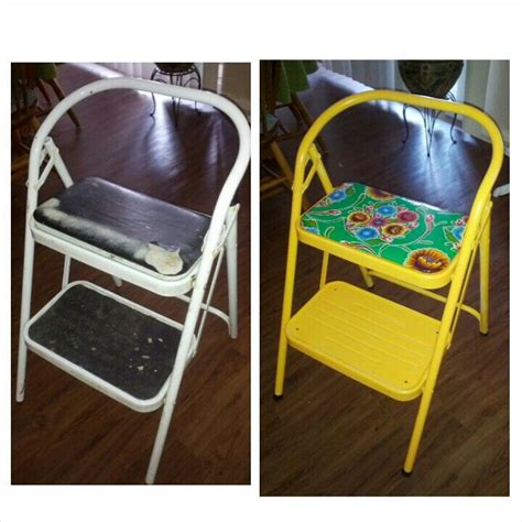 Padded Seat Step Stool by Step Stool Makeover Recovered Padded Seat With Oilcloth