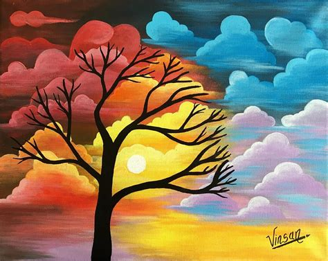 acrylic painting nature abstract nature acrylic painting painting by t saranraj