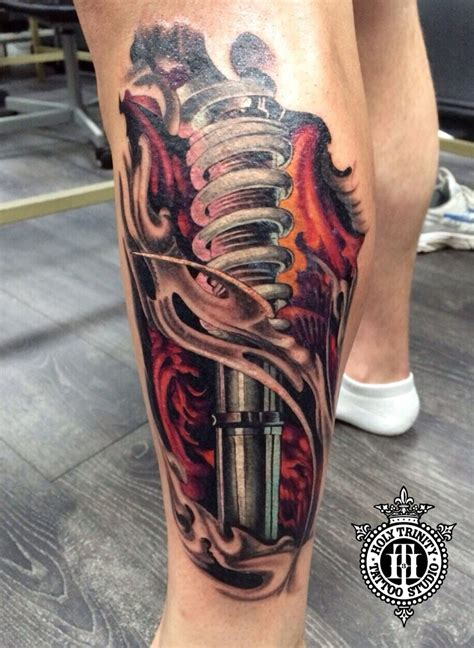 leg piece tattoo fantastic biomechanical leg tattooed in the studio