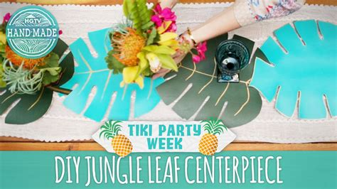 Diy Logo diy jungle leaf centerpiece tiki party week hgtv