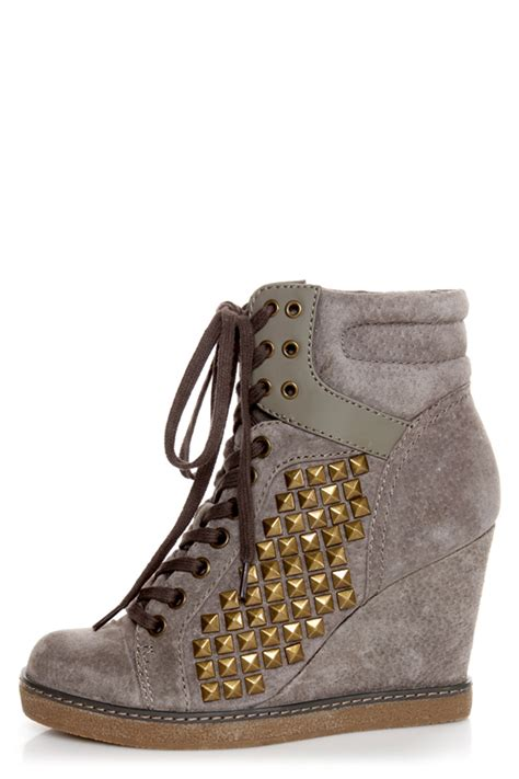 Grey Studded Report Nadja Grey Studded Lace Up Wedge Sneakers 109 00