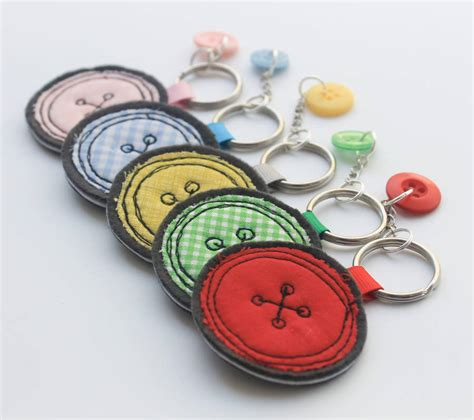 Handmade Fabric Keyrings - fabric button keyring by honeypips notonthehighstreet
