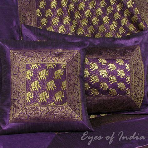 purple coverlet queen 5p queen purple elephant silk bedspread bedding coverlet