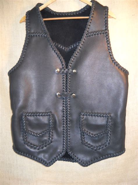 Handmade Leather Vest - western motorcycle vest braided leather construction for