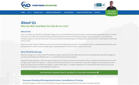 About Us Section Of Website Exles by Web Design Project For Westside Drainage