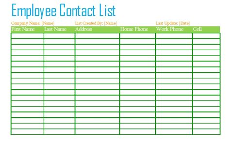 6 free sle staff contact list templates openoffice