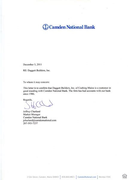 Valley National Bank Letter Of Credit camden national bank 2011