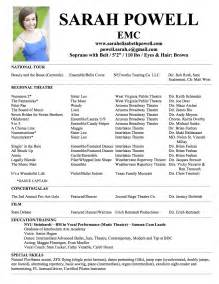 sle musical theatre resume resume