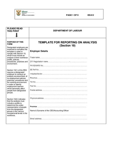 section 12 form eea 12 form template for reporting on analysis section
