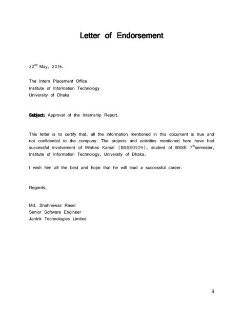 Endorsement Letter Exles Letter Of Endorsement Sle