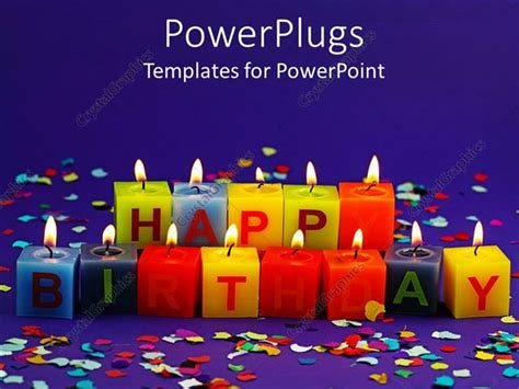 powerpoint template lit happy birthday candles and