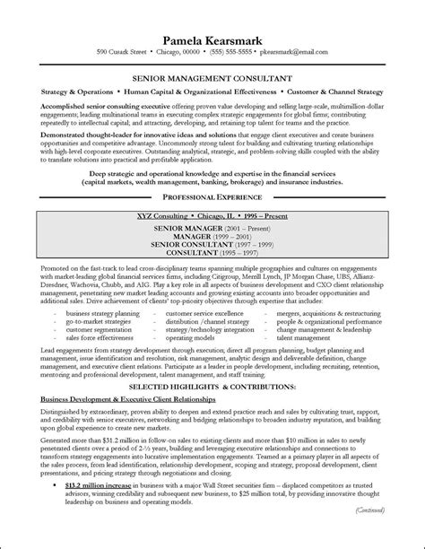 Cv Consulting Experience Management Consulting Resume Exle For Executive
