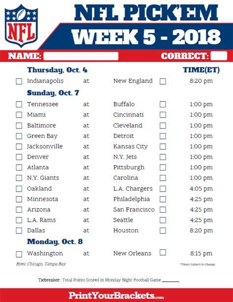 printable nfl week 5 schedule pick em pool 2018