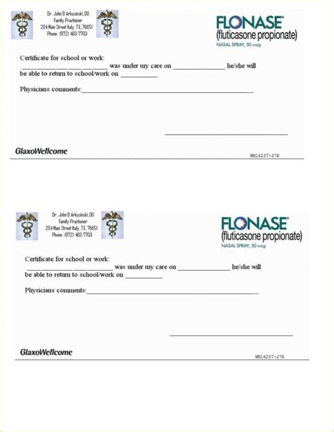 Fake Doctors Note Template Template Business Emergency Room Work Excuse Template