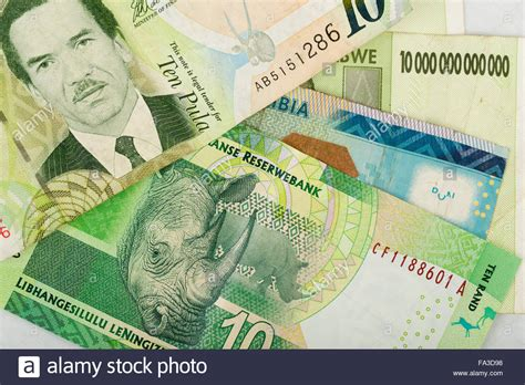 currency converter pula to rand south african countries banknotes for background botswana