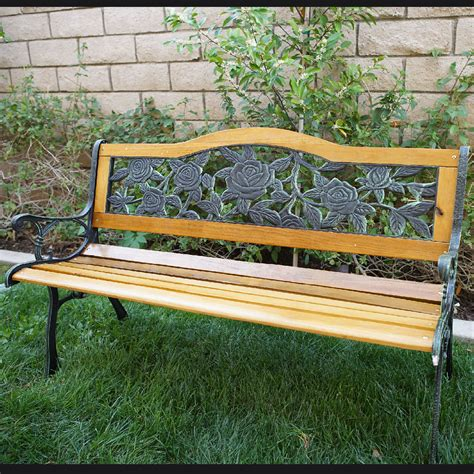 iron benches for outdoor seating outdoor 50 quot inch patio porch deck hardwood cast iron