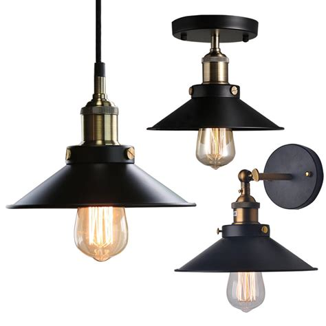 Industrial Ceiling Lights Industrial Factory Ceiling Light Pendant Wall L Sconce Cafe Pub Chandelier Ebay