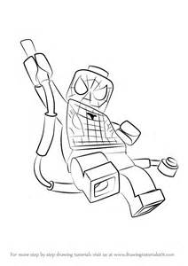 step by step how to draw lego spider man