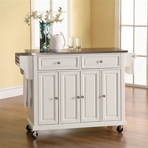 kitchen island with casters shop crosley furniture 52 in l x 18 in w x 36 in h white kitchen island with casters at lowes