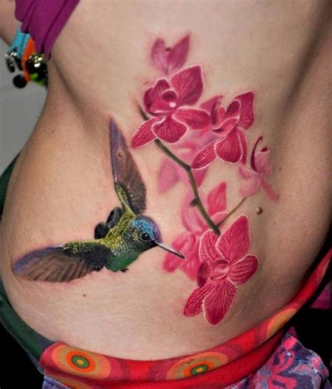 3d hummingbird tattoos realistic flower side hummingbird by nadelwerk