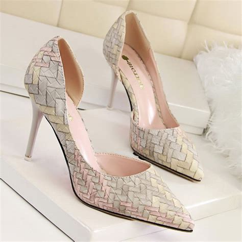 pink pattern heels stiletto heel pointed toe woven pattern pumps in shallow