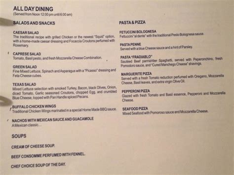Westin Room Service Menu by Room Service Menu Page 6 Picture Of Secrets Maroma