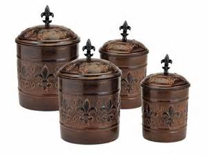 Fleur De Lis Kitchen Canisters by Antique Copper Fleur De Lis Kitchen Canister Set New