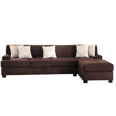 Chocolate Sectional Sofa Poundex Bobkona Hudson Reversible Sectional Sofa In Chocolate Y797981