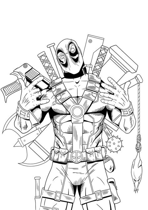 Coloring Page Deadpool by Deadpool Coloring Pages