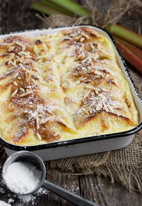 rhubarb bread pudding  creme anglaise recipe